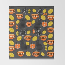 Cats, lemons and teacups Throw Blanket