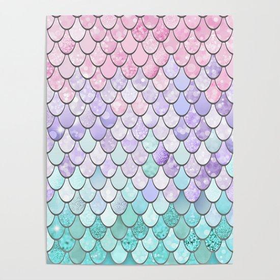 Mermaid Pastel Pink Purple Aqua Teal by meganmorrisart