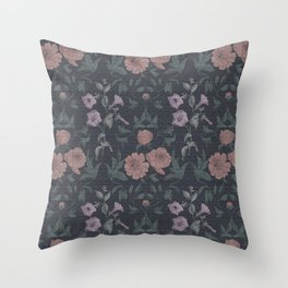 vintage peonies on a dark background Throw Pillow