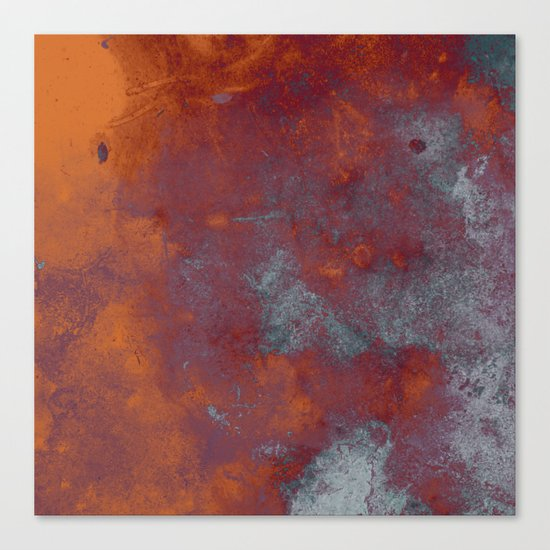 Cracked Amber - Textured abstract painting in amber and blue Canvas Print
