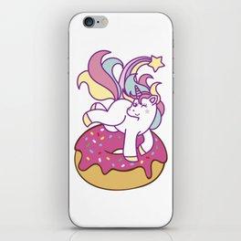 Unicorn and donut iPhone Skin