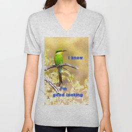 Beautiful swallow-tailed bee-eater with text message. Unisex V-Neck
