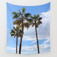 palm trees Wall Tapestries featuring Palm Trees by Rebecca Bear