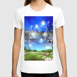 White lanterns with cherry blossom and mountain temple T-shirt