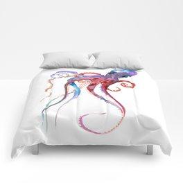 Octopus, blue red purple octopus art, octopus design Comforters