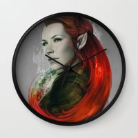 artgerm Wall Clocks featuring Head of Elven by Artgerm™