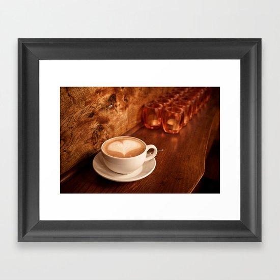 white coffee heart Framed Art Print