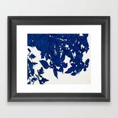 Royal Blue Leaves Framed Art Print