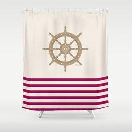 AFE Gold Nautical Helm Wheel Shower Curtain