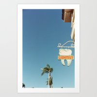 dentist Art Prints featuring The Dentist by Curious Yellow