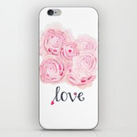 shabby chic iPhone & iPod Skins featuring Shabby Chic Rose Bouqet by KarenHarveyCox