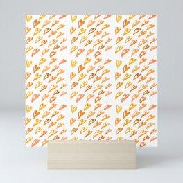 Geometric pattern with hearts - orange Mini Art Print