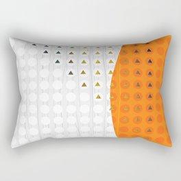 Orange and White Wavy Geometric Dot and Triangle Rectangular Pillow