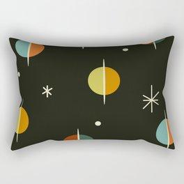 Mid Century Modern Abstract Spheres and Stars Dark Rectangular Pillow