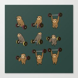 OLYMPIC LIFTING SLOTHS Canvas Print