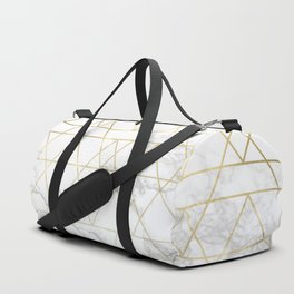 Gold Geometric Marble Deco Design Duffle Bag