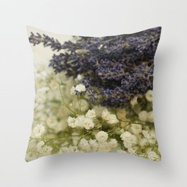 Lavender on gypsophila Throw Pillow