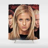 buffy Shower Curtains featuring Buffy The Vampire Slayer  by SB Art Productions