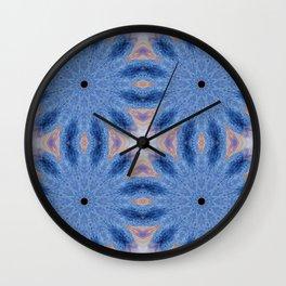 Blue Mandala Flowers Wall Clock