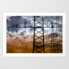Transmission tower Art Print