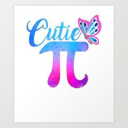 Cute & Funny Cutie Pi Math Pie Butterfly Art Print