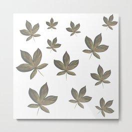 Horse Chestnut Leaf Pattern Metal Print