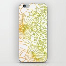Tangerine and Olive Flowery Linocut Wreath iPhone Skin