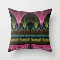theatre Throw Pillows featuring Theatre of Fantasy Fractal by gabiw Art