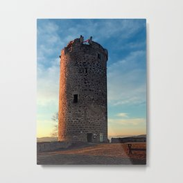 The tower of Waxenberg castle in the sunset | architectural photography Metal Print