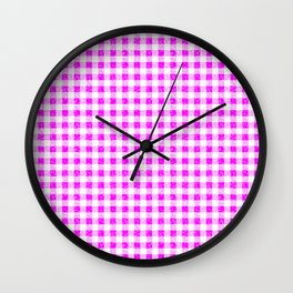 Gingham Pink and White Pattern Wall Clock