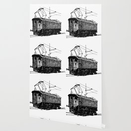 Old City Tram Carriage Detailed Illustration Wallpaper