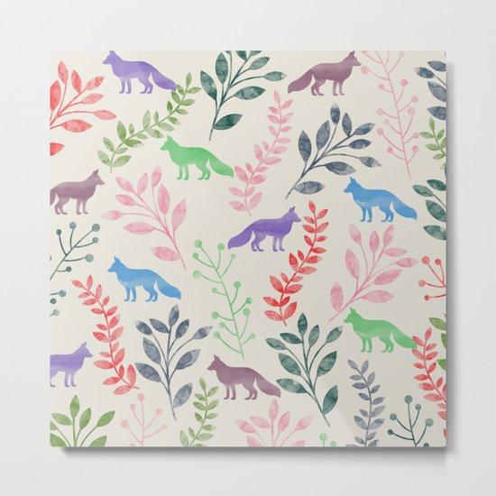 Watercolor Floral & Fox III Metal Print