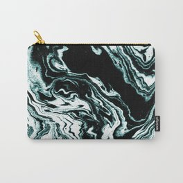 Suminigashi marbled japanese spilled ink watercolor painting marble turquoise art minimalist Carry-All Pouch