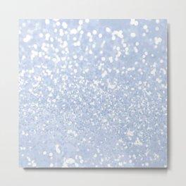 Baby blue white elegant faux glitter pattern Metal Print