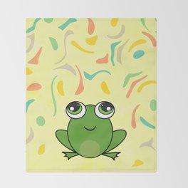 Cute frog looking up Throw Blanket