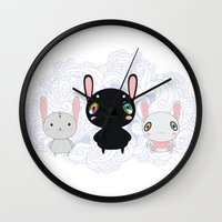 rabbits Wall Clocks featuring Rabbits by Ilya Konyukhov
