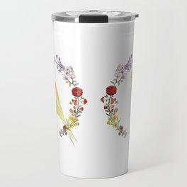 Canary in Floral Wreath Travel Mug