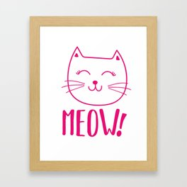 Sweet MEOW Cat Kitten Gift Idea Animal Love Framed Art Print