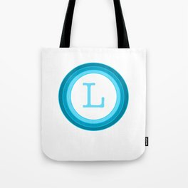 Blue letter L Tote Bag