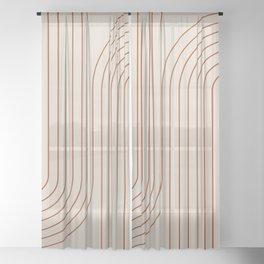 Minimal Line Curvature - Coral II Sheer Curtain
