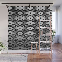 Modern Bohemian Silver Black Glitter Ikat Pattern Wall Mural