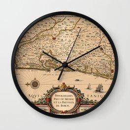 Map Of Bordeaux 1633 Wall Clock