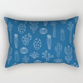 Cactus Silhouette Classic Blue Rectangular Pillow