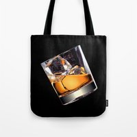 whisky Tote Bags featuring Whisky on the Rocks by FantasyArtDesigns