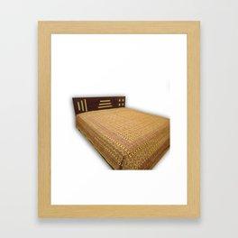 Handmade Ajrakh Kantha Bedcover Framed Art Print