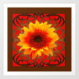 Coffee Brown & Red Yellow Sunflower Filigree Art Art Print