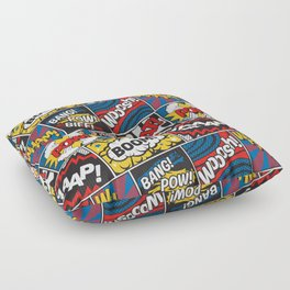 Modern Comic Book Superhero Pattern Color Colour Cartoon Lichtenstein Pop Art Floor Pillow