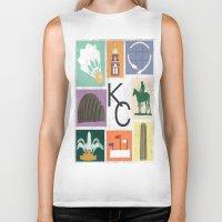 kansas city Biker Tanks featuring Kansas City Landmark Print by Jenna Davis Designs
