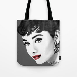 Portrait of Audrey Hepburn in gray-scale and red lips Tote Bag