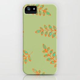 Speckled leaf print pattern, sage green orange teal blue iPhone Case